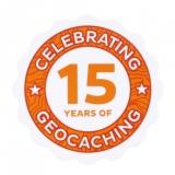 """Aufkleber """"15 Jahre Geocaching"""""""