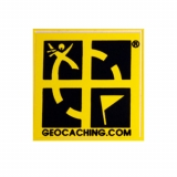Geocaching Mini Sticker yellow small
