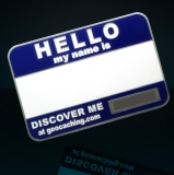 "Geocoin ""Namensschild"", blau blank"