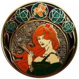 "Geocoin Art Nouveau ""Sommer"", Bronze antik"