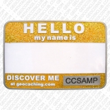 Yellow Glitter Name Tag