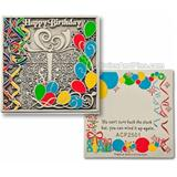"Geocoin ""Happy Birthday"", silberfarben antik"