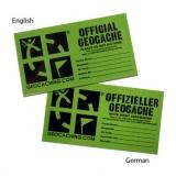 Mittelgroßes Geocache Etikett in Deutsch