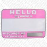"Geocoin ""Namensschild"" rosa/pink"