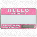 "Geocoin ""Namensschild"" pink, glitzernd"