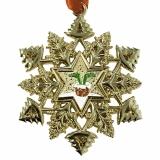 Schneeflocke Ornament Geocoin Signal  im Schornstein