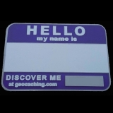 Royal Purple Name Tag Geocoin