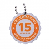 15 Years of Geocaching Travel Tag