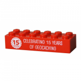15 Years of Geocaching Trackable Brick- Red