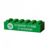 15 Years of Geocaching Trackable Brick- Green