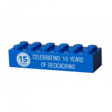 15 Years of Geocaching Trackable Brick- Blue