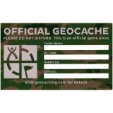 """Geocaching Etikett """"Green Camo"""" mittel, englisch"""