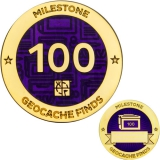 Milestone Geocoin and Tag Set - 100 Finds