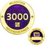Milestone Geocoin and Tag Set - 3000 Finds