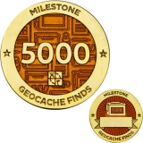 Milestone Geocoin and Tag Set - 5000 Finds