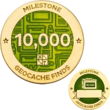 Milestone Geocoin and Tag Set - 10,000 Finds