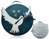 Peace on Earth Geocoin - Poliertes Silber / Blau