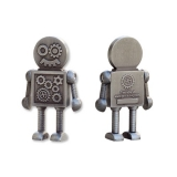 Steampunk Robot Geocoin w/ Travel Tag silver